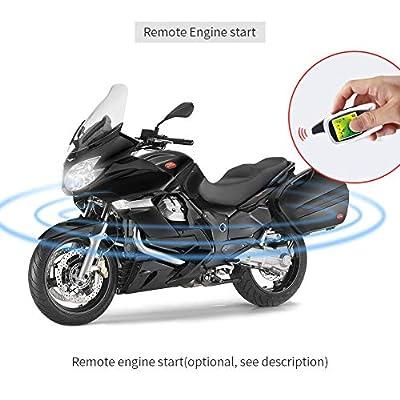 EASYGUARD EM209 2 Way Motorcycle Alarm System with Remote Engine Start Starter Microwave Sensor Colorful LCD Pager Display Shock Sensor Proximity Sensor Included Universal Version DC12V: Car Electronics
