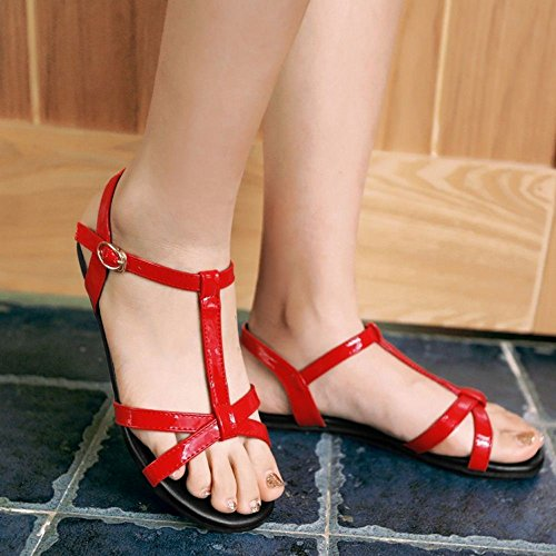 COOLCEPT Mujer Moda Correa En T Sandalias Punta Abierta Slingback Planos Zapatos Rojo