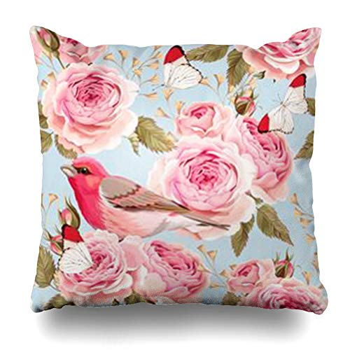 - AileenREE Throw Pillow Covers Pink Blue Pattern English Roses Birds Nature Vintage Bouquet Butterfly Flower Romantic Floral Pillowcase Square Size 18 x 18 Inches Home Decor Cushion Cases