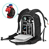 Camera Backpack 21'' x 15'' x 9'' Camera Bag with Waterproof Rain Cover, Modular Inserts, YKK Lockable Zipper, Skid-proof Base for Sony Canon Nikon Olympus SLR/DSLR/Lens/Laptop and Accessories, Black/Red