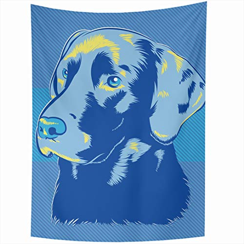 Ahawoso Tapestry 60 x 90 Inches Black Blue Lab Labrador Dog Wildlife Yellow Face Golden Head Painting Design Grooming Wall Hanging Home Decor Tapestries for Living Room Bedroom Dorm Black Lab Tapestry Throw