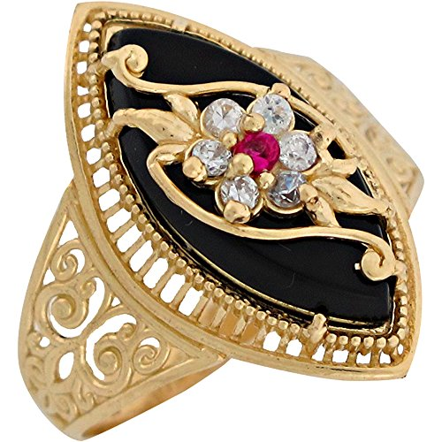 (14k Yellow Gold Onyx White CZ Simulated Ruby Fancy Flower Ladies Ring)