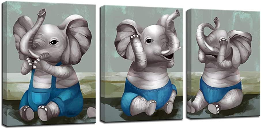 Amazon Com Vividhome 3 Piece Cute Baby Elephant Canvas Painting Picture Prints Of Elephants No Evil Listen See And Speak Educational Poster Modern Animals Artwork For Kids Room Nursery Decoration 12x16inchx3pcs Posters