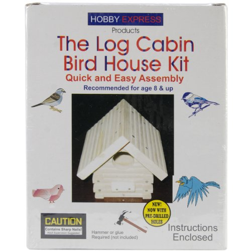 Pinepro Unfinished Wood Kit, Log Cabin Bird House - Log Cabin Home Kits