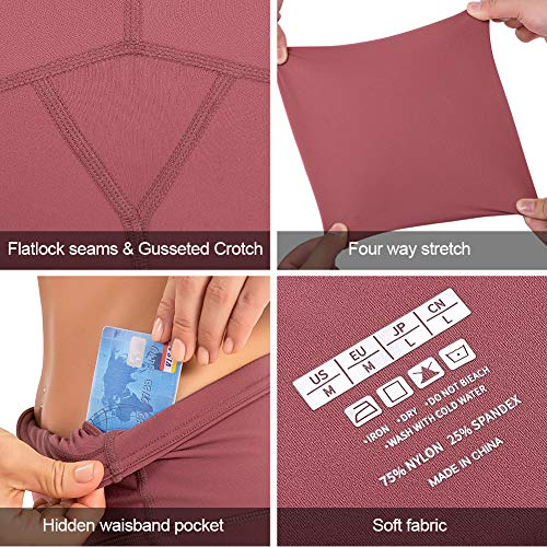 CLUCI High Waist Yoga Leggings for Women with Pockets Workout Pants Tummy Control Non-See Through 4 Way Stretch Pale Red Violet Middle(M)