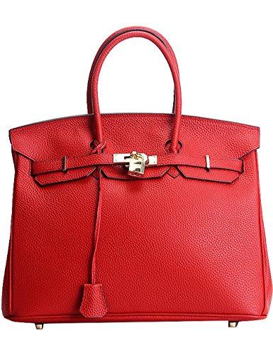 CUKKE Damen Echtes Leder Handtasche Elegant Taschen 25cm Gelb Rot M 8dYs3gqovc