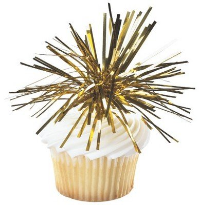 Gold Spray Mylar -24pk Cupcake / Desert / Food Decoration Topper Picks with Favor Stickers & Sparkle Flakes by CakeSupplyShop
