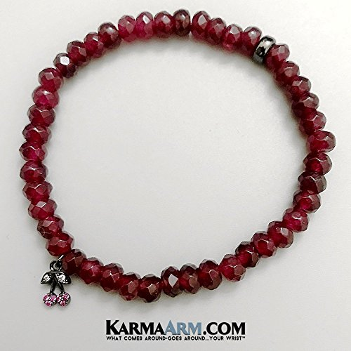 Beaded Bracelets, Boho Bracelets, Reiki Healing Mens Bracelets, Womens Jewelry, Handmade in Hollywood, HAPPINESS: Red Jade | Cherries  Yoga Chakra Charm Bracelet (Jade Cherry)