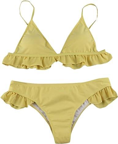 Yiylunneo Tankinis Tallas Grandes Cintura Baja Banadores Sexy Push Bikini Set Volantes Traje De Bano Para Mujer Sujetador Push Up Amazon Es Ropa Y Accesorios