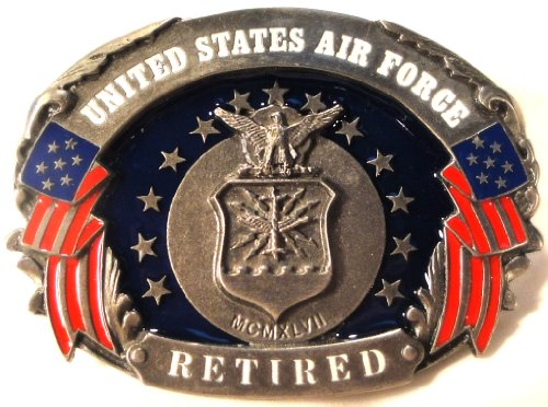 US AIR FORCE RETIRED PEWTER BELT BUCKLE MADE IN USA BY SISKIYOU