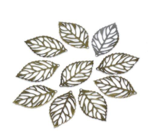 (PEPPERLONELY Brand 200PC Antique Bronze Hollow Charm Pendants Leaf)