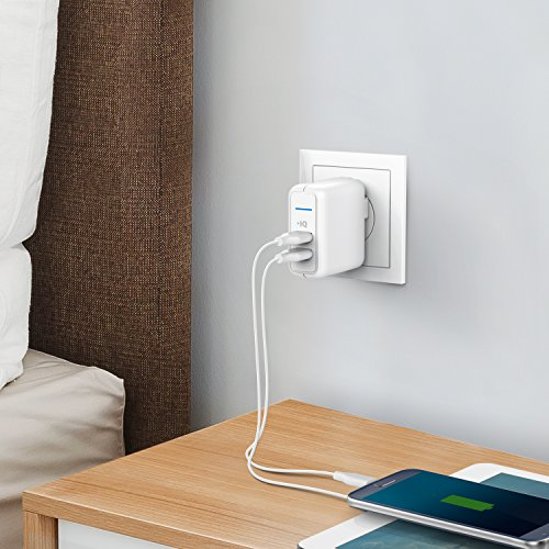 Anker Elite USB Charger, Dual Port 24W Wall Charger, PowerPort 2 con PowerIQ y enchufe plegable, para iPhone Xs /XS Max /XR /X /8/7/6 /Plus, iPad Pro /Air 2 /Mini 3 /Mini 4, Samsung S4 /S5, y más