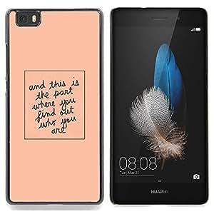 Stuss Case / Funda Carcasa protectora - Cita Peach minimalista texto - Huawei Ascend P8 Lite (Not for Normal P8)