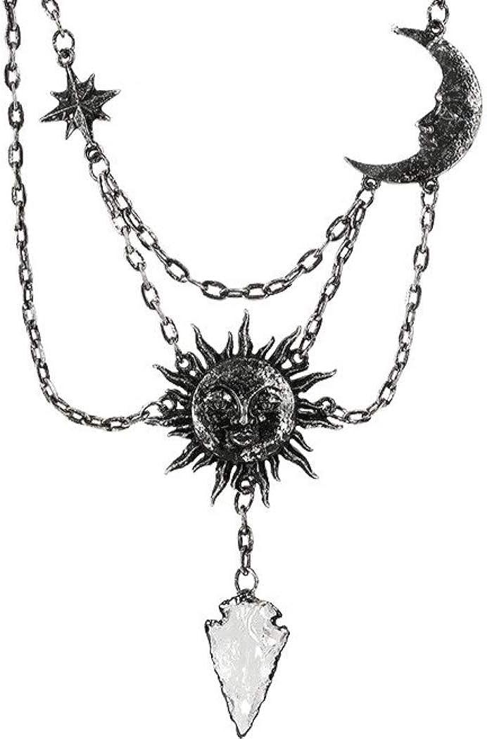 Restyle Collar Goth Wicca Estrella Luna Creciente Sol Colgante Cuarzo Blanco