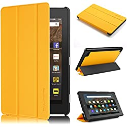 Fire 7 Case 7th generation 2017 Release, Swees Slim Folio Protective Leather Smart Case Cover with Stand for All New Amazon Fire 7 Tablet with alexa 7th gen 2017 Kids Friendly, Canary Yellow