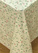 Vine Time Flannel Backed Vinyl Tablecloth, 70-Inch Round