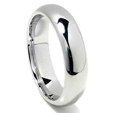 Metal Factory Titanium 6mm High Polish Plain Dome Wedding Band Ring (Sizes  6 to 13 5)