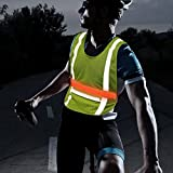 Illumifun Reflective Running Vest - High Visibility Light Up LED Safety Vest with Large Pocket, Glow in the Dark LED Safety Gear for Running, Jogging, Cycling, Motorcycling, Night Workout
