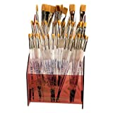 Royal Brush SGFLAT-72 Soft Grip Flat Golden Taklon Fiber Non-Slip Rubber Grip Acrylic Paint Brush Assortment, Assorted Size, 11.4'' Height, 8'' Width, 8'' Length (Pack of 72)