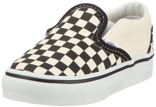 Vans Kids' Classic Slip-ON-K, Black Checkerboard/White, 10 M US -