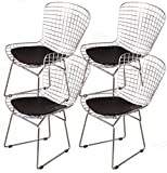Harry Bertoia Chromed Wire Frame Side Chair (Black Pads, Set of 4)