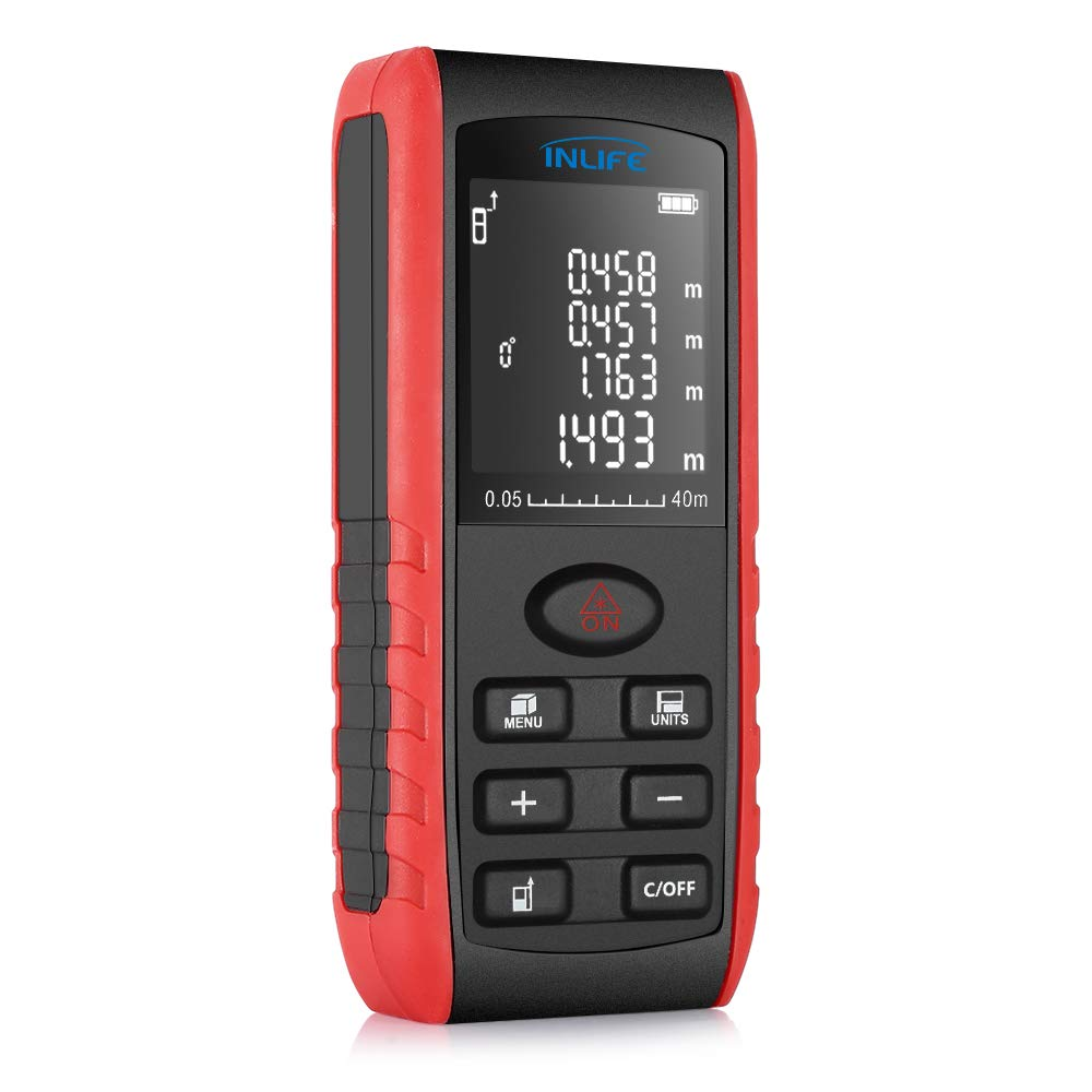 Digital Laser Distance Meter 131FT/ 40M,InLife Backlit LCD Laser Measure, Laser Measuring Device with Single-distance, Continuous, Area, VNT Angle, Volume Measurement and Pythagorean Modes