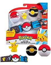 Pokémon Clip 'N' Go Belt Set Pikachu & Pokéball - Bevat 1 x 5 cm figuur, 1 x riem & 2 x Poké Bal - Nieuwe golf 2021 - Officieel gelicentieerd