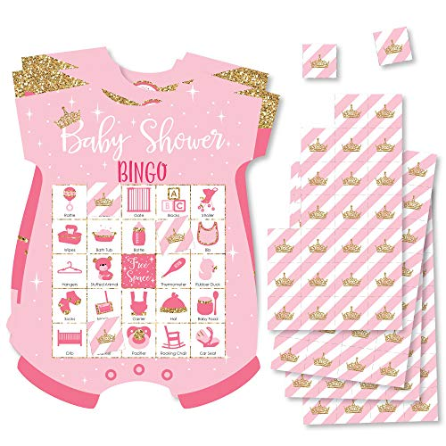 - Little Princess Crown - Picture Bingo Cards and Markers - Pink and Gold Princess Baby Shower Shaped Bingo Game - Set of 18