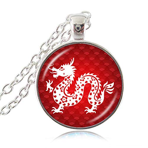 Chinese Zodiac Necklace Year of The Rat Ox Tiger Rabbit Dragon 12 Constellation Silver Pendant Charm Accessories Birthday Gifts