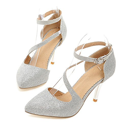 silver Women Size Pointed Thin Shoes Hollow Plus qUYBSwB