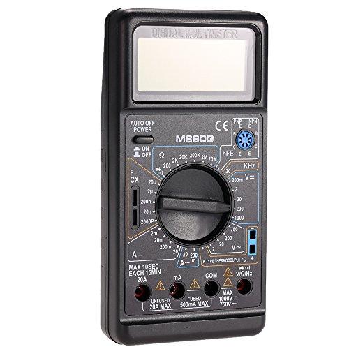 Gabion(TM) M890G Digital Multimeter DMM Temperature Meter AC/DC Volt Amp ohm Meter w/ Frequency Capacitance & hFE Test