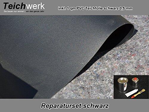 PVC Teichfolie Reparaturset schwarz 50 g Kleber inkl Folie 20 cm x 30 cm