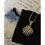 Smiling Wisdom - Fanned Seashell Gift Set- Find Your Passion Shell Greeting Card - 18K White Gold Plated Seashell Pendant Necklace - Unique Encouraging Friendship or Graduation Gift Set