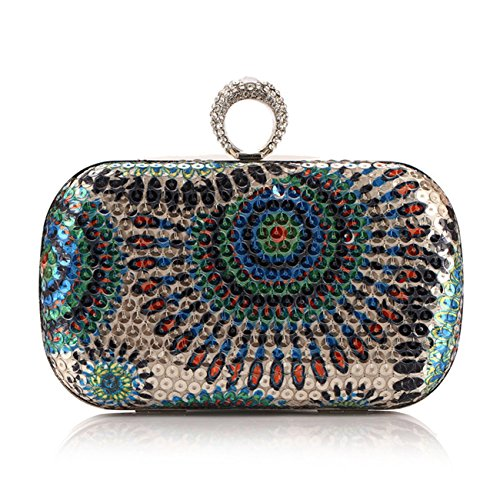 Fit & Wit Sequined Bead Wedding Evening Party Clutch Handbag Purses - Blue