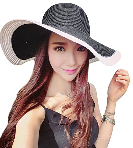 Rising ON Womens Striped Straw Sun Hat Big Floppy Hat Foldable Roll up Big Brim Hats,C-blackandWhite (Hat Embroidered Hurley)
