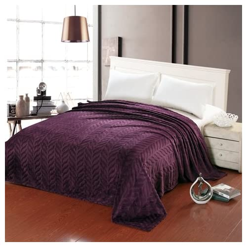 Discount King Size Leaf Etched Jacquard Blanket (Purple) for sale