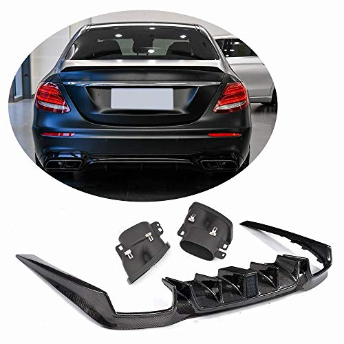 MCARCAR KIT Rear Diffuser fits Mercedes Benz W213 Sport Package E43 E63 AMG S Sedan 2016 2017 2018 Carbon Fiber Under Chin Lip Spoiler Splitter Valance (Rear Diffuser with Exhaust Tips)