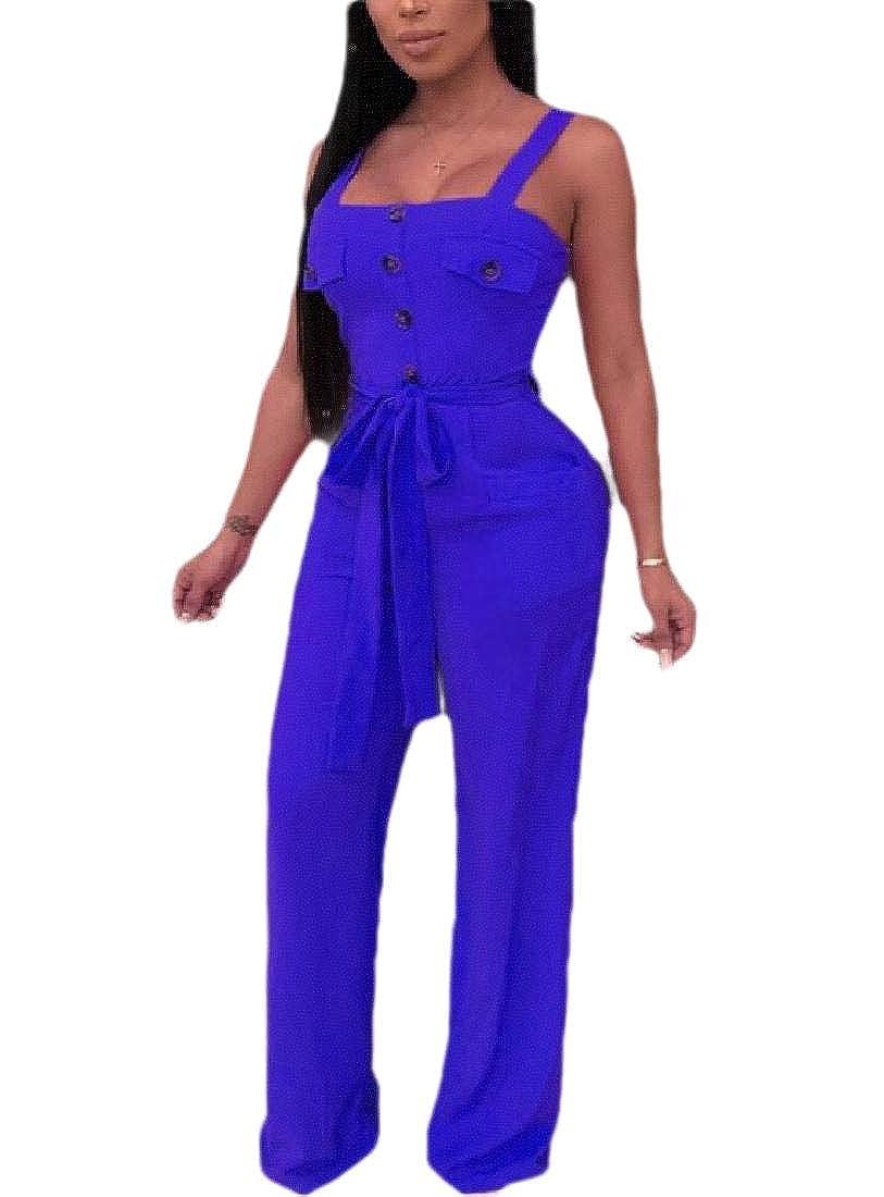 ouxiuli Womens Elegant Sleeveless Button Up V Neck Wide Leg Pants Jumpsuit Romper