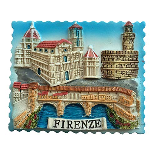 (Old Bridge Santa Maria del Fiore Florence Italy Fridge Magnet City Travel Souvenir Collection 3D Resin Handmade Craft Gift)