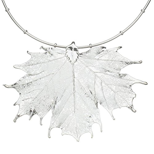 Sugar Maple Leaf Pendant Sterling Silver Omega Beads Chain Necklace, 16