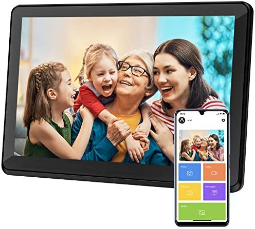 Atatat Digital Picture Frame WiFi 10 inch with 1920x1080 IPS Touch Screen, Share Photos & Videos Instantly by the use of APP Email, Auto-Rotate, Wall-Mountable, Portrait and Landscape