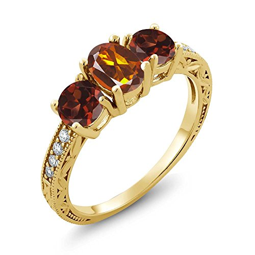 Ct Orange Red Madeira Citrine Red Garnet 18K Yellow Gold Plated Silver Ring (Size 9) ()