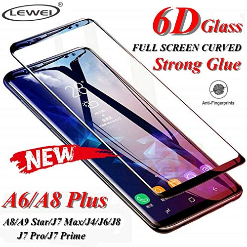 A8 A6 Plus A9 Star Screen Protector 6D Full Curved Tempered Glass for Samsung Galaxy J2 Pro J4 J6 J8 2018 J7 Max Protective Film (for A8 Plus 2018 - Black)