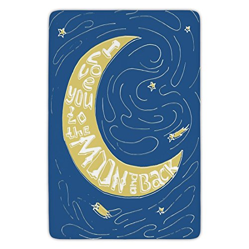 Rug 13800 (Bathroom Bath Rug Kitchen Floor Mat Carpet,I Love You,Crescent Moon Maze with Comet Stars Swirls Celebration Birthday Print,Violet Blue Yellow,Flannel Microfiber Non-slip Soft Absorbent)