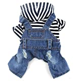 DOGGYZSTYLE Pet Dog Cat Clothes Blue Striped Jeans Jumpsuits One-Piece Jacket Costumes Apparel Hooded Hoodie Coats for Small Puppy Medium Dogs (S, Blue)