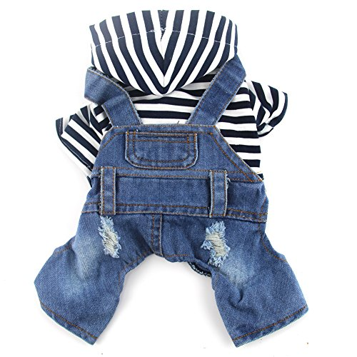 DOGGYZSTYLE Pet Dog Cat Clothes Blue Striped Jeans Jumpsuits One-piece Jacket Costumes Apparel Hooded Hoodie Coats for Small Puppy Medium Dogs (XL, Blue) Dog Cat Costume Pet Clothes