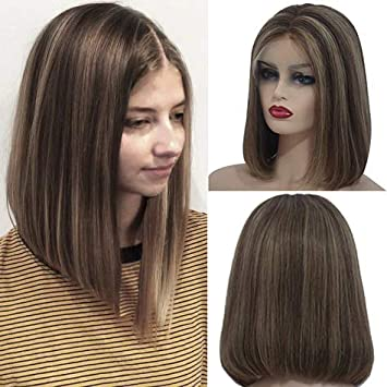 Human Hair Wigs Highlight For Women 180 Density 4 Brown Mixed With 27 Blonde Balayage