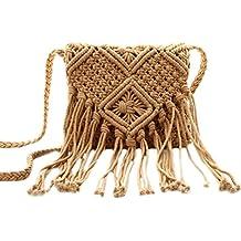 Aisa Girl's Fringed Crochet Shoulder Bag Pouch Cotton Tassel Bohemian Beach Cross-body Bag