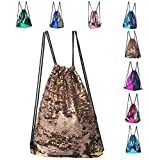 Sequin Drawstring Backpack,Fashion Glitter Sequins Chest Bag Drawstring Backpack Sackpack for Shopping Sport Yoga