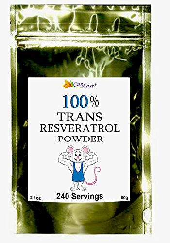 CurEase 100% Pure Trans Resveratrol Powder 240 Servings (60 Grams) 250mg Per Servings